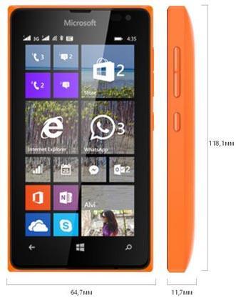 размер Lumia 435