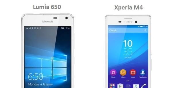 lumia 650 vs xperia m4