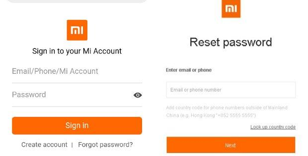 стандартный способ сброса пароля на телефоне Xiaomi