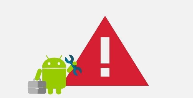 значки ошибки и android с надписью Play Market