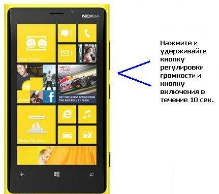 перезагрузка Nokia Lumia