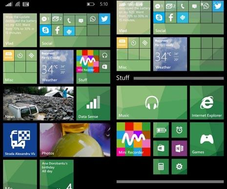 настройка стартового экрана Windows Phone