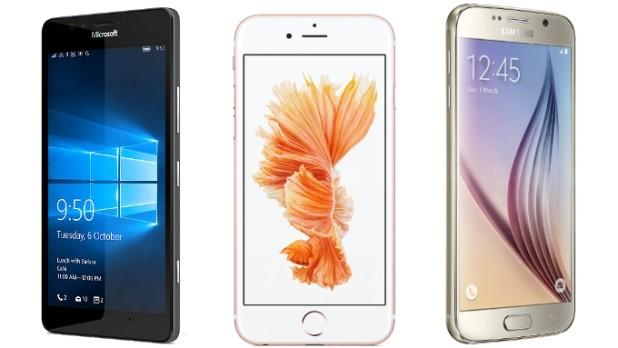 lumia 950 vs iphone 6 vs galaxy s6