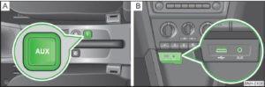 aux skoda 300x99 - Как соединить 2 или 3 колонки JBL между собой
