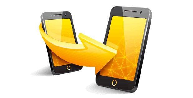 два смартфона со стрелкой