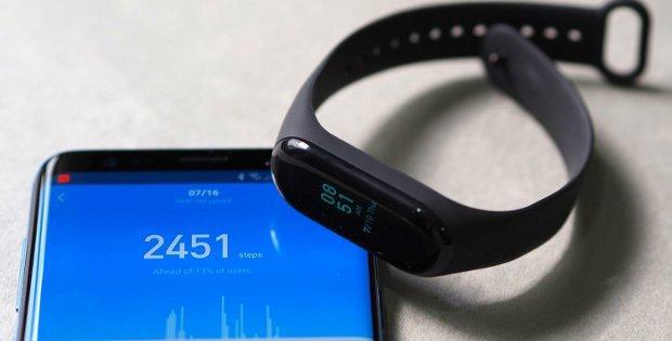 телефон Xiaomi и браслет Mi Band 3