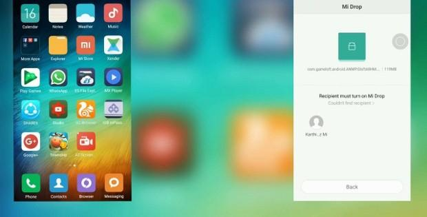 окно Mi Drop на Xiaomi Redmi
