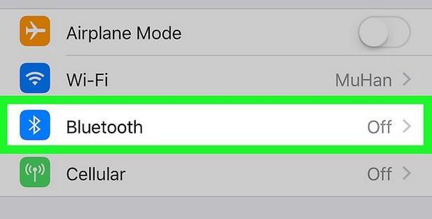 включение Bluetooth на iPhone